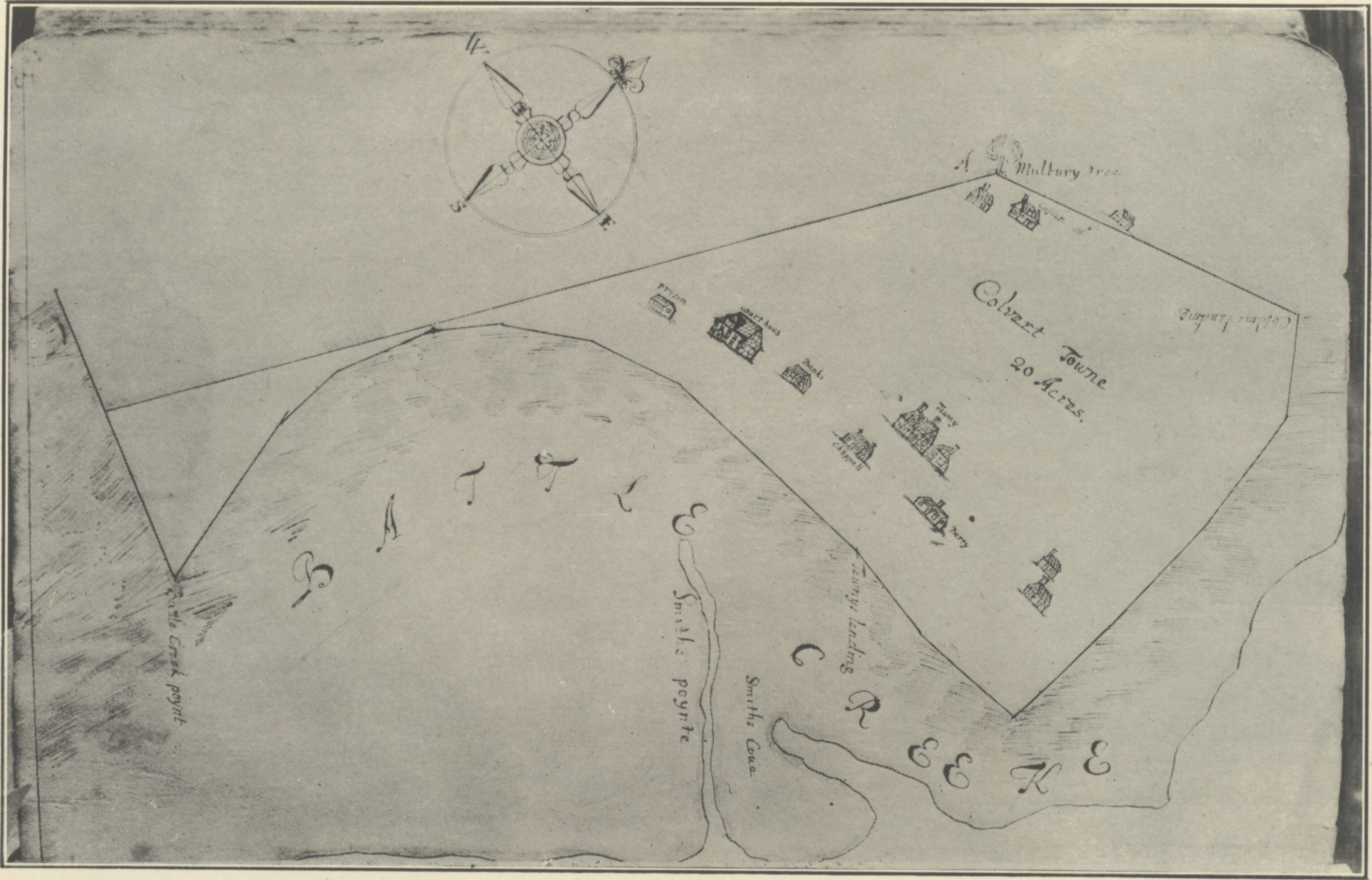 1682 plat of Calverton by Robert Jones